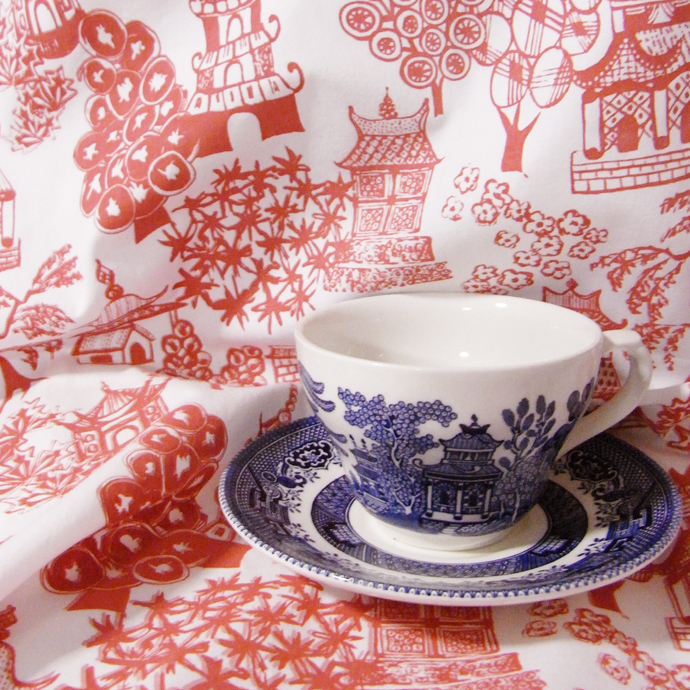 Quitling fabric inspired by the famous willow pattern